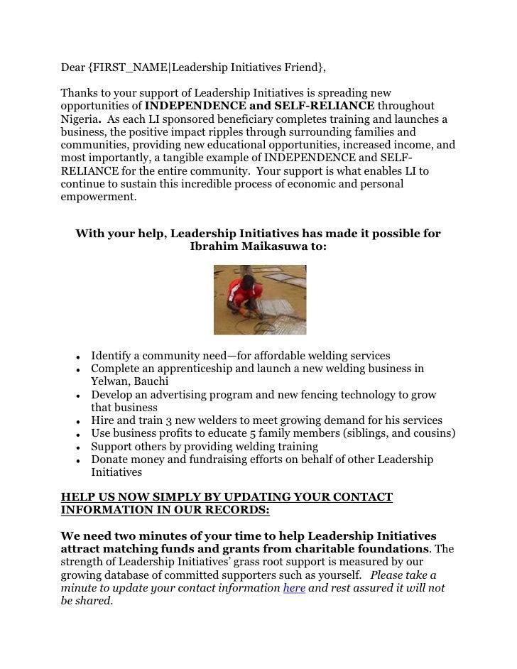Dear {FIRST_NAME|Leadership Initiatives Friend},Thanks to your support of Leadership Initiatives is spreading newopportuni...