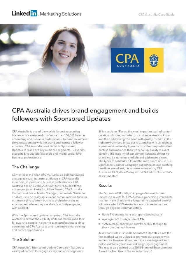 CPA Australia Case Study: LinkedIn Sponsored Updates Help CPA Australia Gain Followers and Increase Engagement