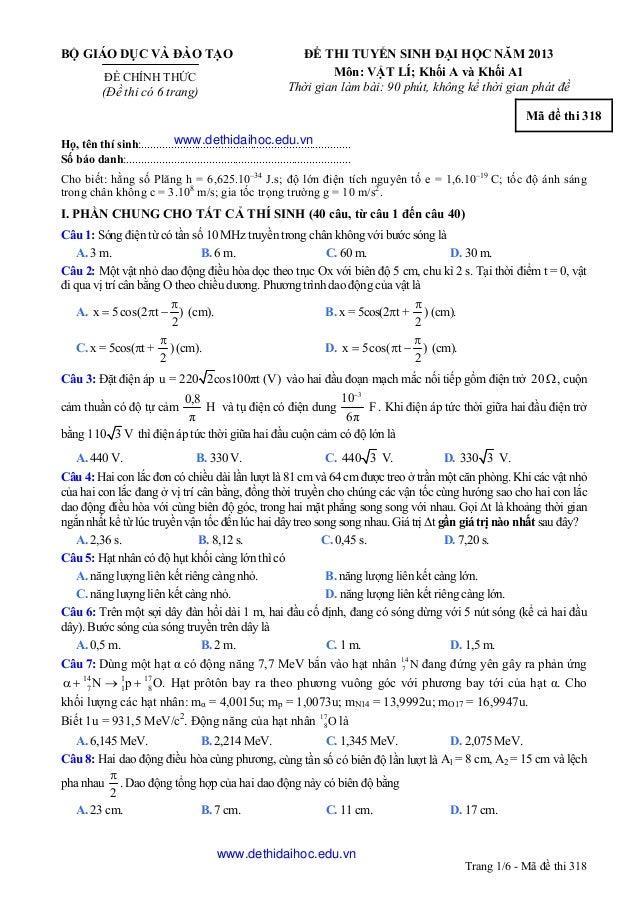 đề thi đại học khối a, a1 năm 2013 môn vật lý