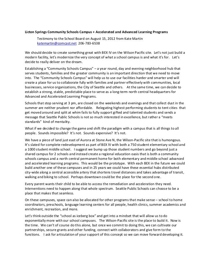 Licton springs community schools campus board testimony august 15, 2012