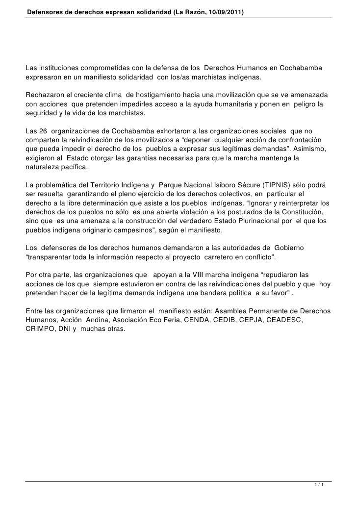 Defensores de derechos expresan solidaridad (La Razón, 10/09/2011)Las instituciones comprometidas con la defensa de los De...