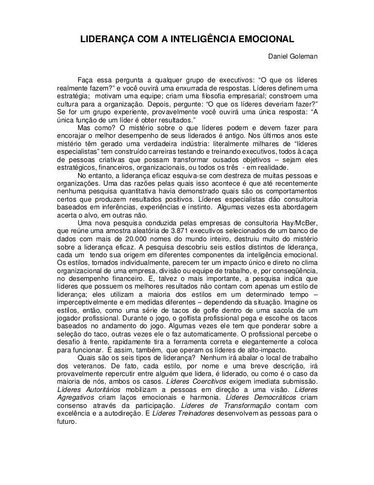 LIDERANÇA COM A INTELIGÊNCIA EMOCIONAL                                                                    Daniel Goleman  ...