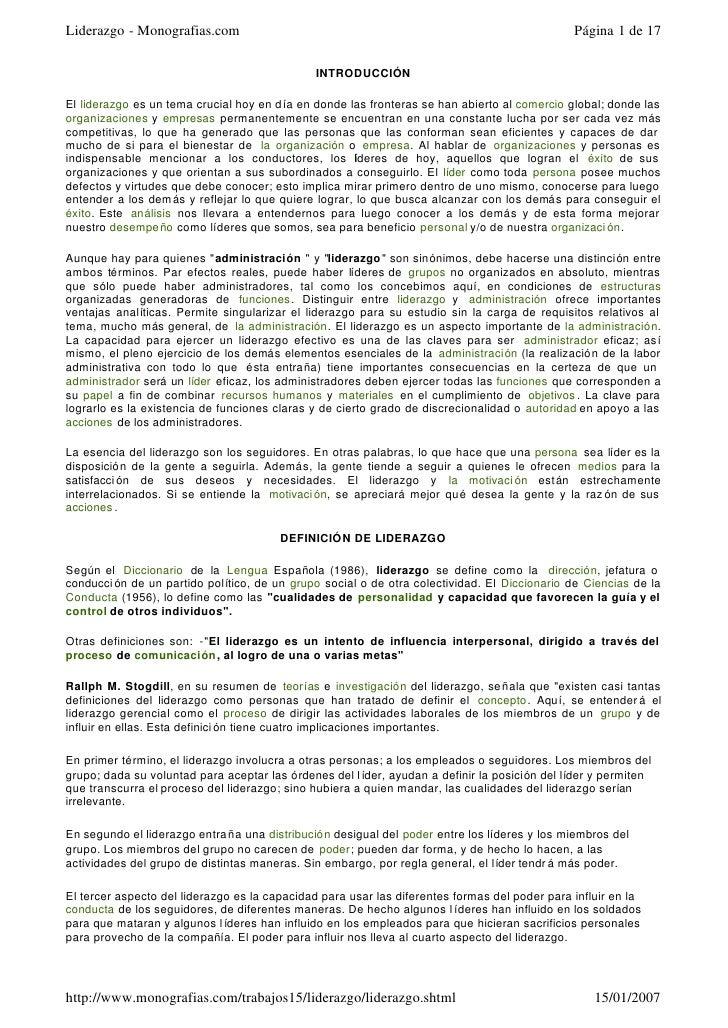 Liderazgo - Monografias.com                                                                    Página 1 de 17             ...