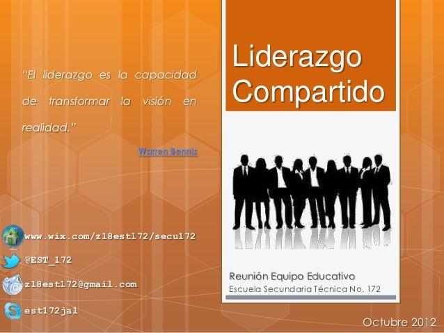 """""""El liderazgo es la capacidad                                        Liderazgode   transformar   la   visión   en     Comp..."""