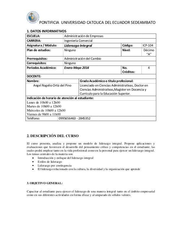 PONTIFICIA UNIVERSIDAD CATOLICA DEL ECUADOR SEDEAMBATO 1. DATOS INFORMATIVOS ESCUELA: CARRERA: Asignatura / Módulo: Plan d...