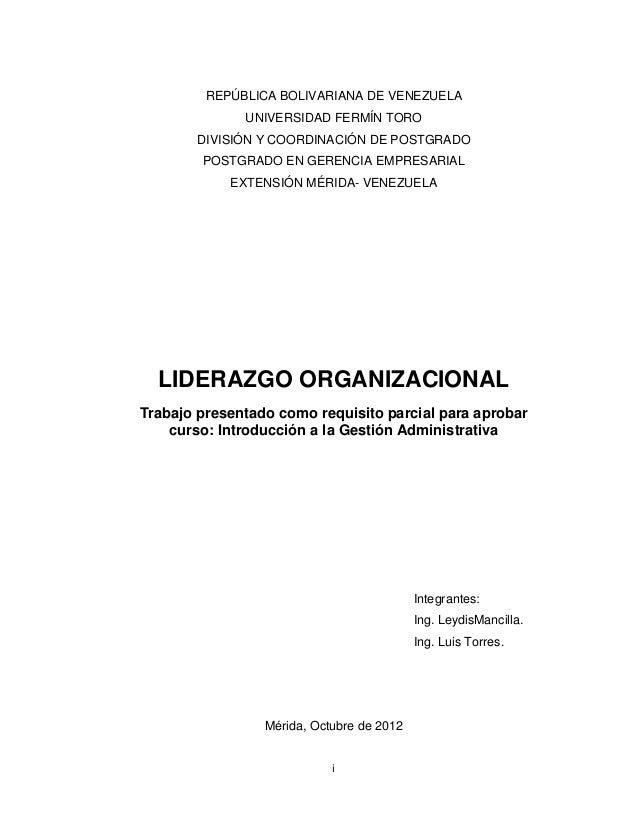 REPÚBLICA BOLIVARIANA DE VENEZUELA              UNIVERSIDAD FERMÍN TORO        DIVISIÓN Y COORDINACIÓN DE POSTGRADO       ...