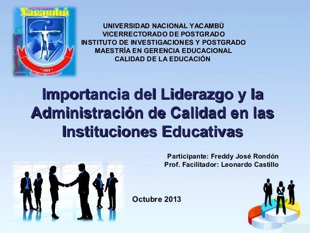 Liderazgo y administracion de la calidad en instituciones educativas