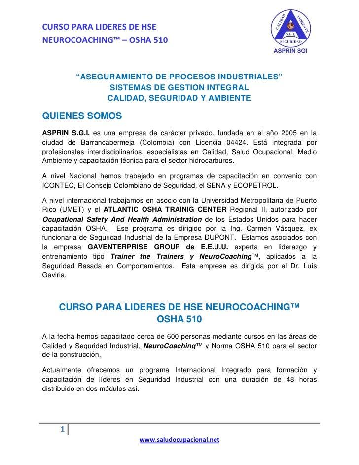 """CURSO PARA LIDERES DE HSE NEUROCOACHING™ – OSHA 510             """"ASEGURAMIENTO DE PROCESOS INDUSTRIALES""""                 S..."""