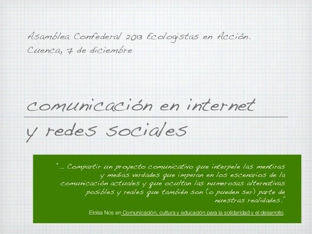 Comunicación en internet y redes sociales