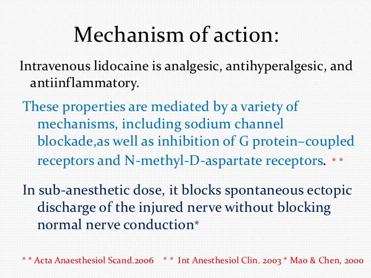 systemic Lidocaine infusion