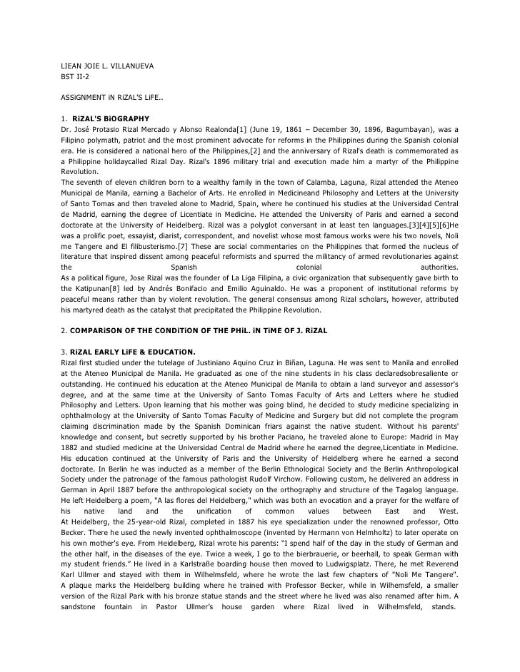 LIEAN JOIE L. VILLANUEVA<br />BST II-2<br />ASSiGNMENT iN RiZAL'S LiFE..1.  RiZAL'S BiOGRAPHY<br />Dr. José Protasio Rizal...
