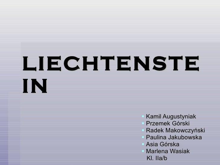 LIECHTENSTEIN <ul><li>Kamil Augustyniak </li></ul><ul><li>Przemek Górski </li></ul><ul><li>Radek Makowczyński </li></ul><u...