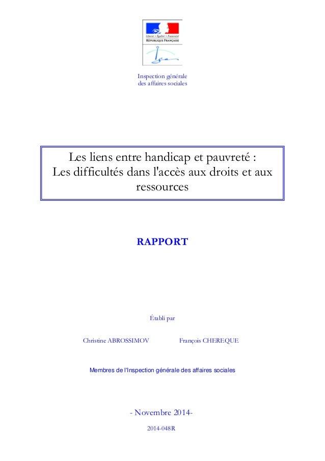 Inspection générale des affaires sociales Christine ABROSSIMOV François CHEREQUE Membres de l'Inspection générale des affa...