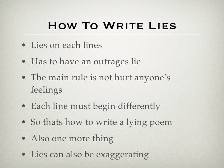 lie poems