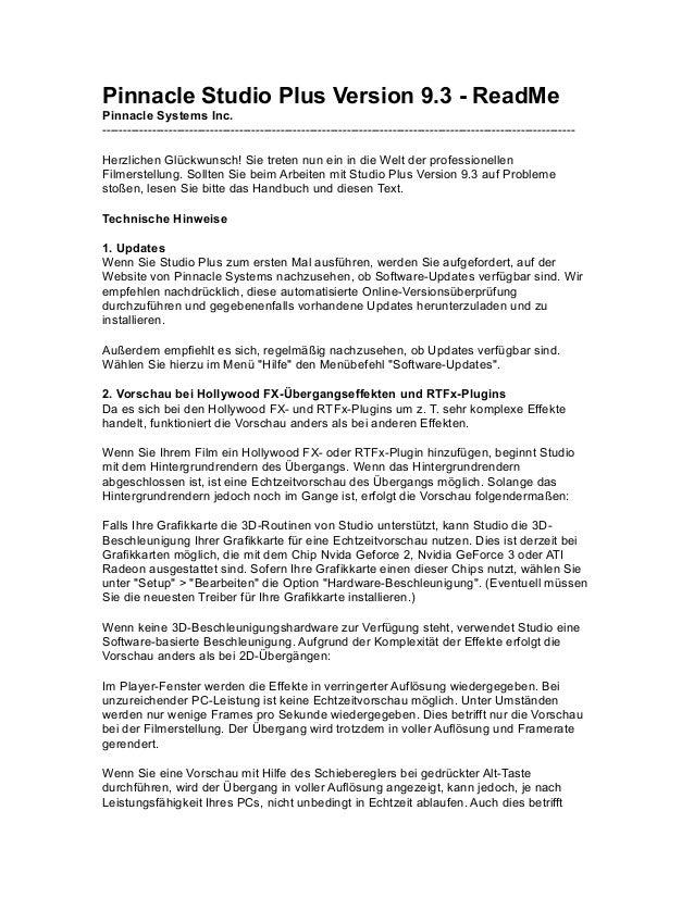 Pinnacle Studio Plus Version 9.3 - ReadMe Pinnacle Systems Inc. ----------------------------------------------------------...