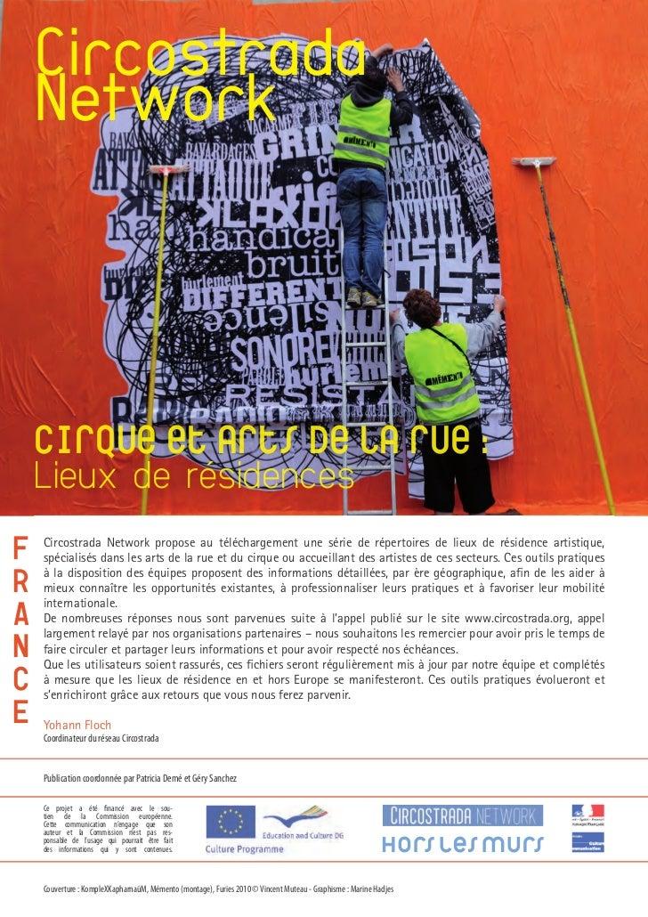 Lieux résidences arts de rue et cirque France 2011