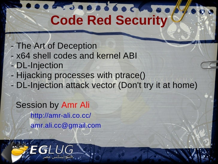 Code Red Security - The Art of Deception - x64 shell codes and kernel ABI - DL-Injection - Hijacking processes with ptrace...