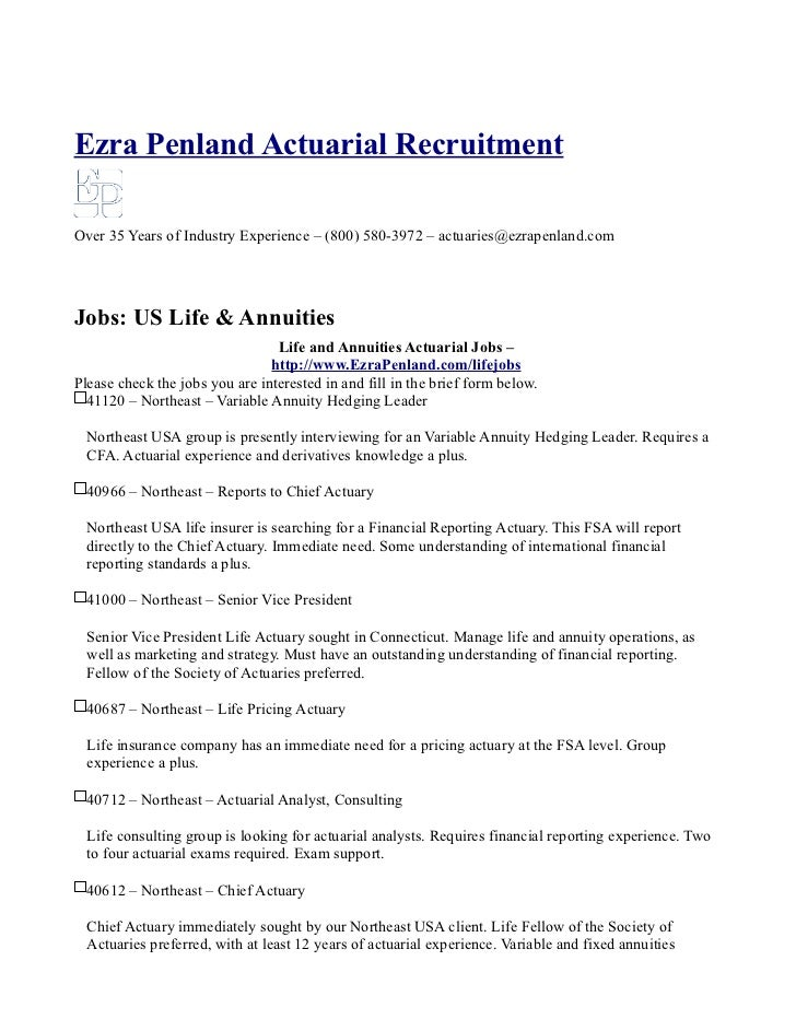 Ezra Penland Actuarial RecruitmentOver 35 Years of Industry Experience – (800) 580-3972 – actuaries@ezrapenland.comJobs: U...