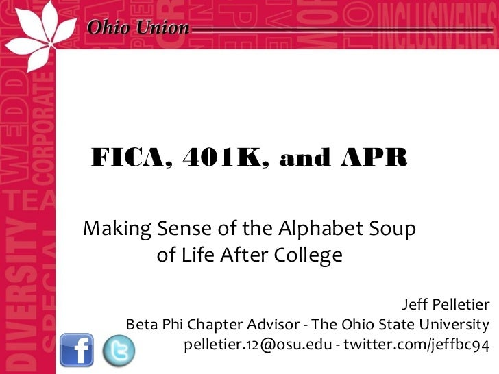 FICA, 401K, and APRMaking Sense of the Alphabet Soup       of Life After College                                          ...