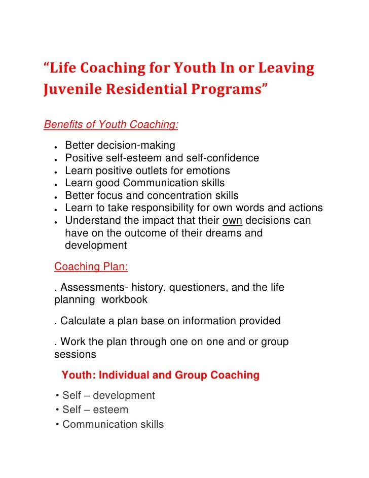 """Life Coaching for Youth In or Leaving Juvenile Residential Programs"" <br />Benefits of Youth Coaching:<br />Better decisi..."