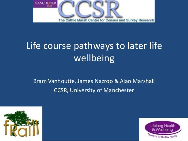 Life course pathways to later life wellbeing Bram Vanhoutte, James Nazroo & Alan Marshall CCSR, University of Manchester