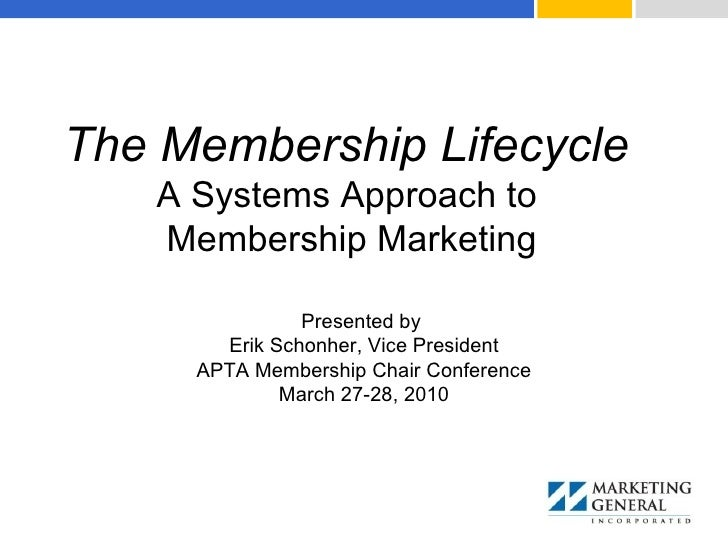 The Membership Lifecycle   A Systems Approach to  Membership Marketing Presented by  Erik Schonher, Vice President APTA Me...
