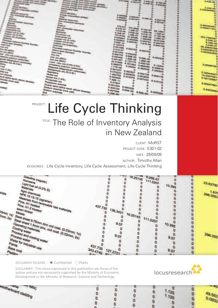 Life Cycle Thinking            PROJECT :                       TITLE :                             The Role of Inventory A...