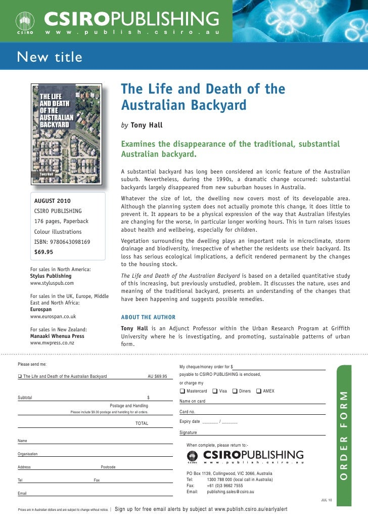 Life and Death of the Australian Backyard