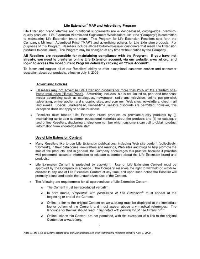 Rev. 7.1.09 This document supersedes the Life Extension Internet Advertising Program effective April 1, 2009.1Life Extensi...