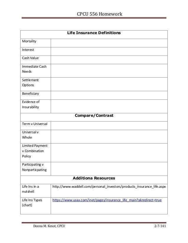 CPCU 556 Homework  Life Insurance Definitions Mortality Interest Cash Value Immediate Cash Needs Settlement Options Benefi...