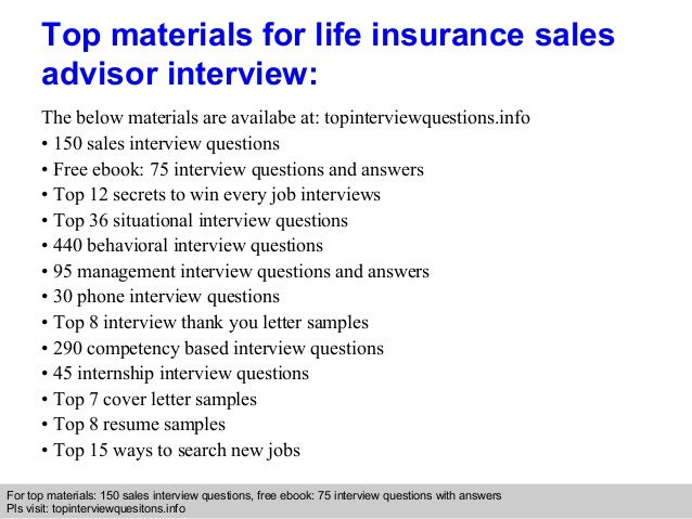 Life Insurance Sales Advisor Interview Questions And Answers