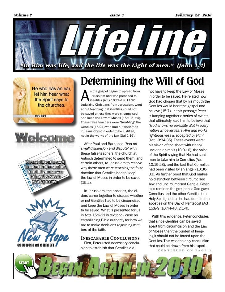 """Volume 7                                         Issue 7                                   February 28, 2010       """"In Him..."""
