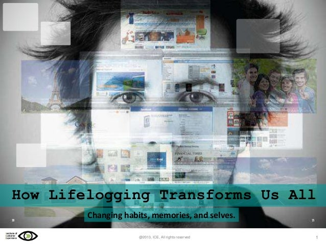 How Lifelogging Transforms Us All Changing habits, memories, and selves. @2013, ICE, All rights reserved  1