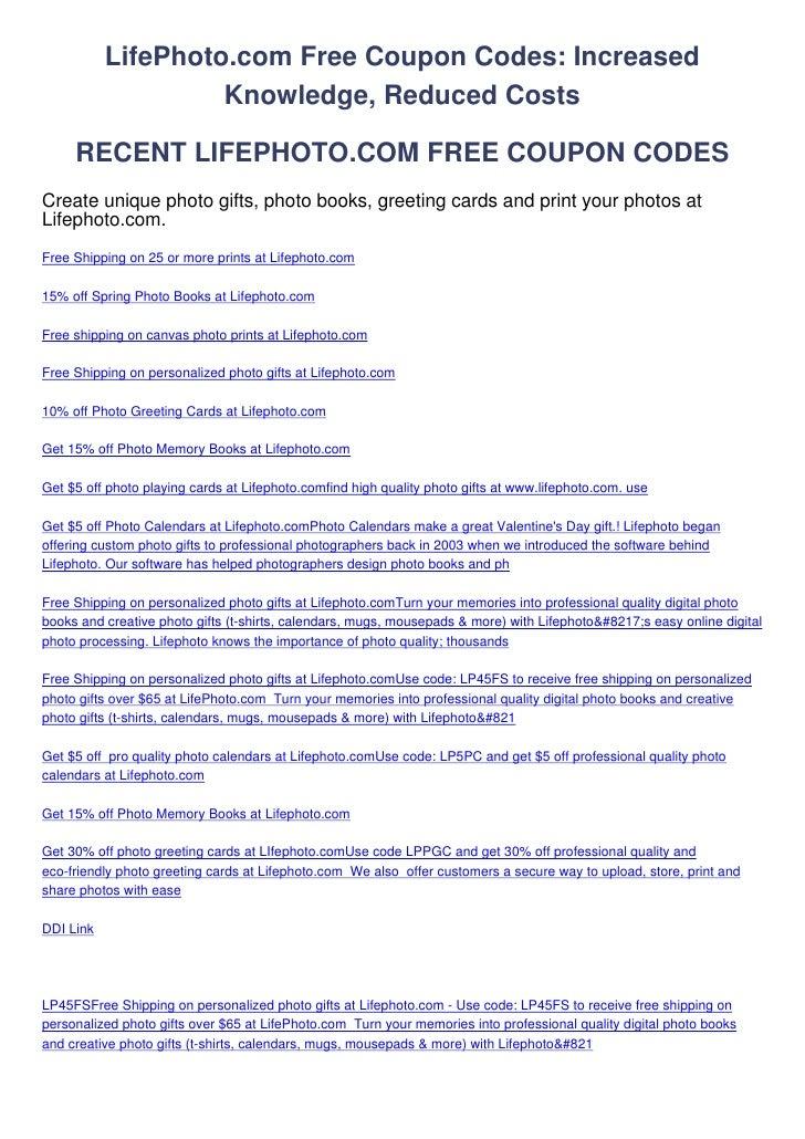 LifePhoto.com Free Coupon Codes: Increased                    Knowledge, Reduced Costs     RECENT LIFEPHOTO.COM FREE COUPO...