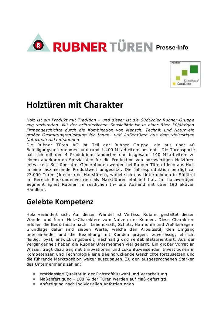 Presse-InfoHolztüren mit CharakterHolz ist ein Produkt mit Tradition – und dieser ist die Südtiroler Rubner-Gruppeeng verb...