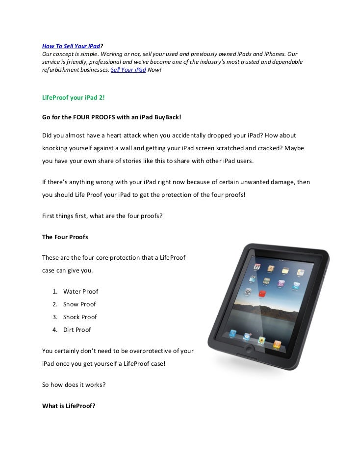 How To Sell Your iPad?Our concept is simple. Working or not, sell your used and previously owned iPads and iPhones. Ourser...