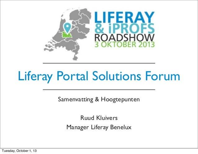 iProfs-Liferay Roadshow-03-10-13 - LPSF Highlights