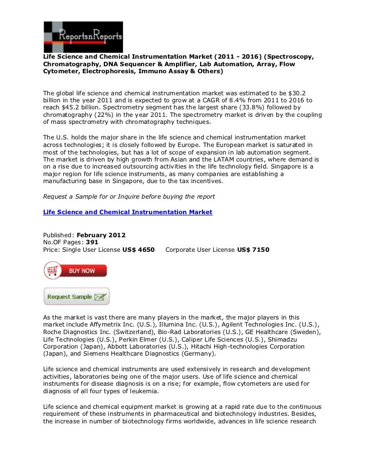 Life Science and Chemical Instrumentation Market (2011 - 2016) (Spectroscopy,Chromatography, DNA Sequencer & Amplifier, La...