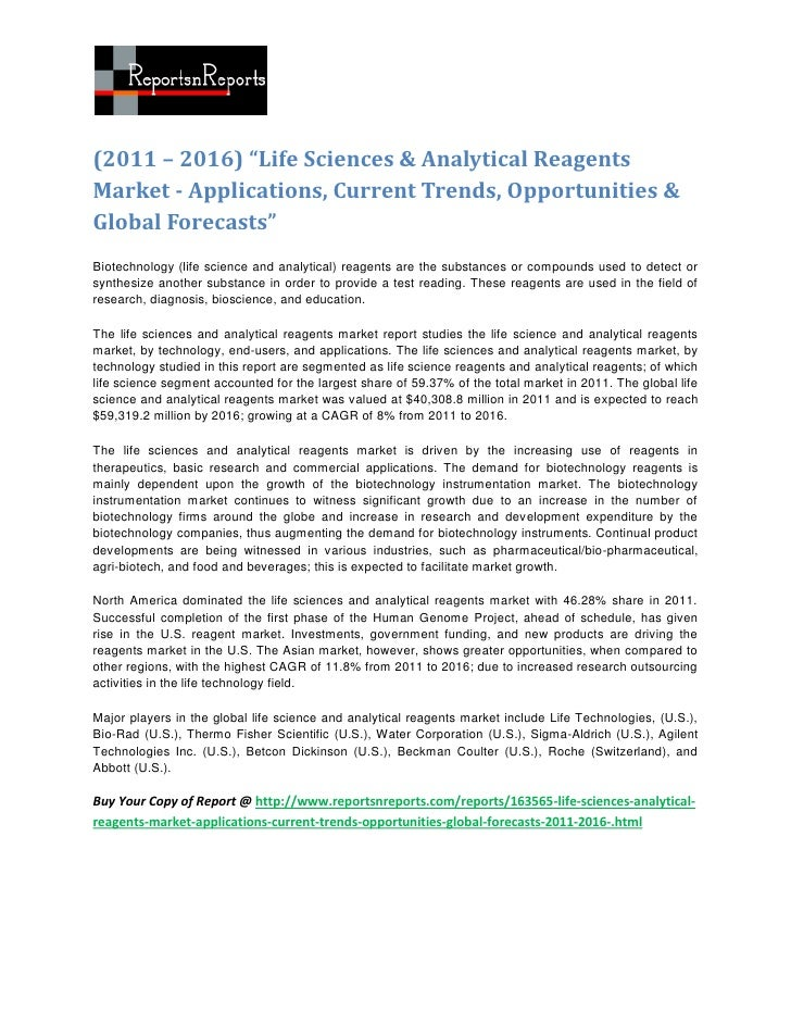 "(2011 – 2016) ""Life Sciences & Analytical ReagentsMarket - Applications, Current Trends, Opportunities &Global Forecasts""B..."