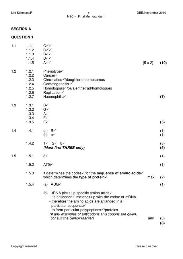 Life Sciences Grade 12 June 2014 Memorandum