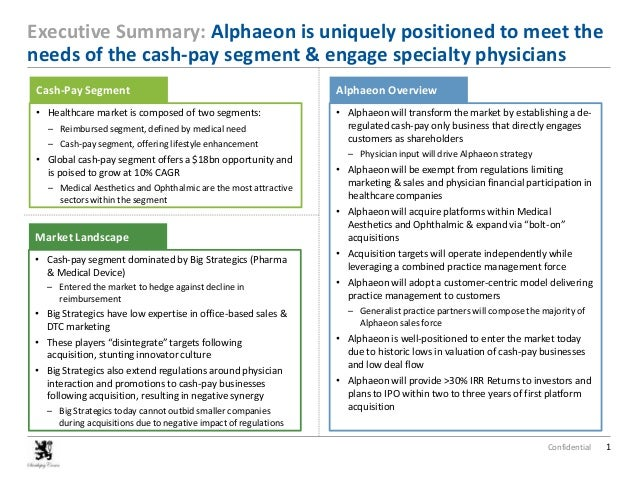 Executive Summary: Alphaeon is uniquely positioned to meet the needs of the cash-pay segment & engage specialty physicians...