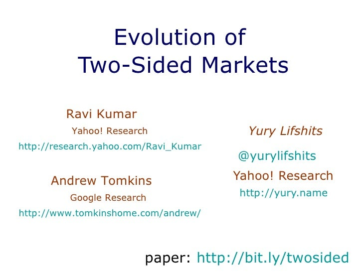 Evolution of  Two-Sided Markets Yury Lifshits @ yurylifshits   Yahoo! Research  http://yury.name   Ravi Kumar  Yahoo! Rese...