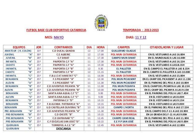 FUTBOL BASE CLUB DEPORTIVO CATARROJA TEMPORADA : 2012-2013MES: MAYO DIAS: 11 Y 12EQUIPOS JOR CONTRARIOS DIA HORA CAMPOS CI...