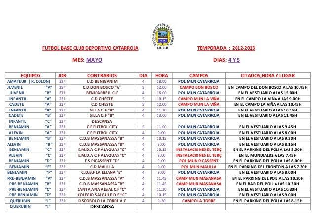 FUTBOL BASE CLUB DEPORTIVO CATARROJA TEMPORADA : 2012-2013MES: MAYO DIAS: 4 Y 5EQUIPOS JOR CONTRARIOS DIA HORA CAMPOS CITA...