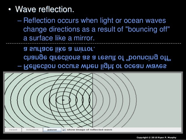 "• Wave reflection. – Reflection occurs when light or ocean waves change directions as a result of ""bouncing off"" a surface..."