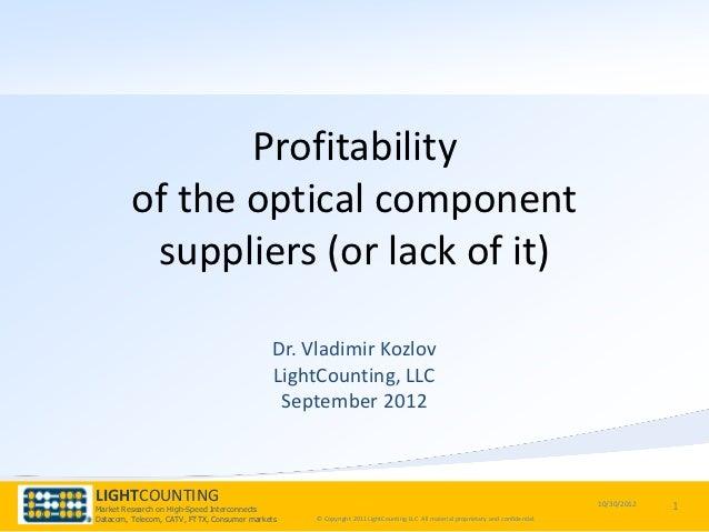 Profitability of Optical Component Suppliers - CIOE 2012