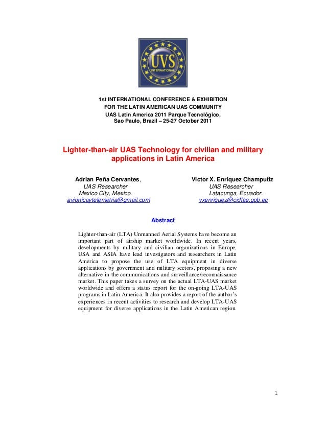 Lighter than air technology for military and civilian applications in latin america