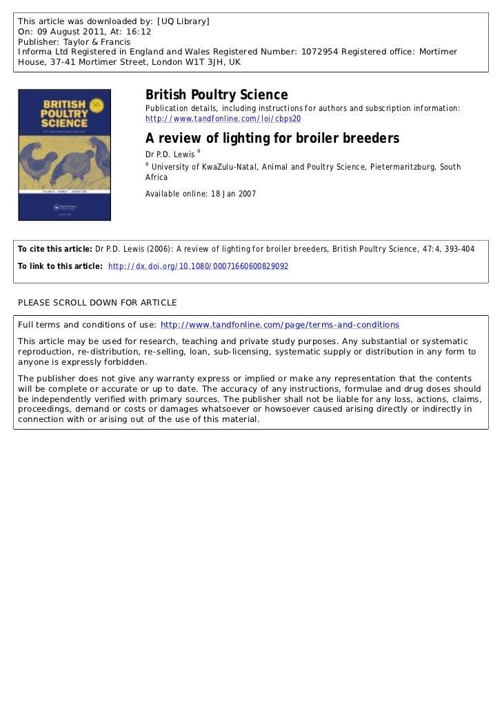 Light in broiler breeder