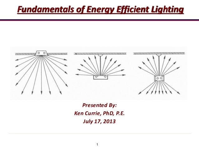 1 Fundamentals of Energy Efficient Lighting Presented By: Ken Currie, PhD, P.E. July 17, 2013