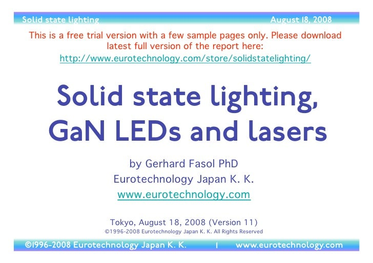 Solid state lighting, GaN LEDs and lasers